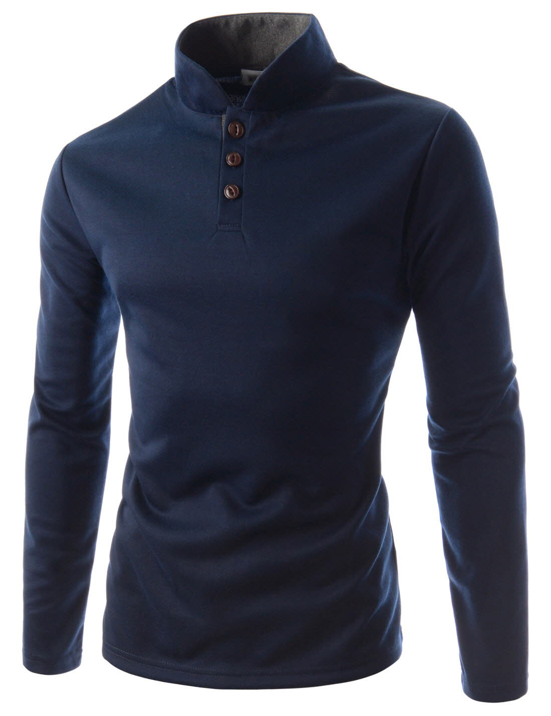 Jtl29 mens slim fit casual henley neck china collar long for Mens collared henley shirt
