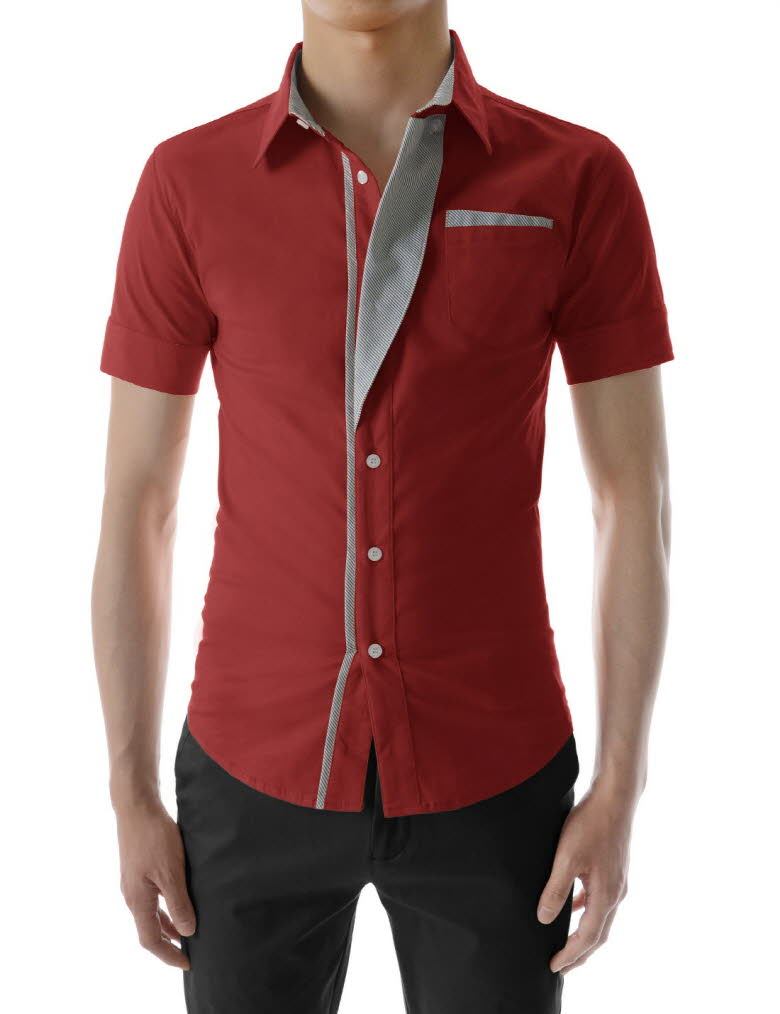 Thelees mens n320s casual stripe patched fitted dress for Fitted short sleeve dress shirts for men