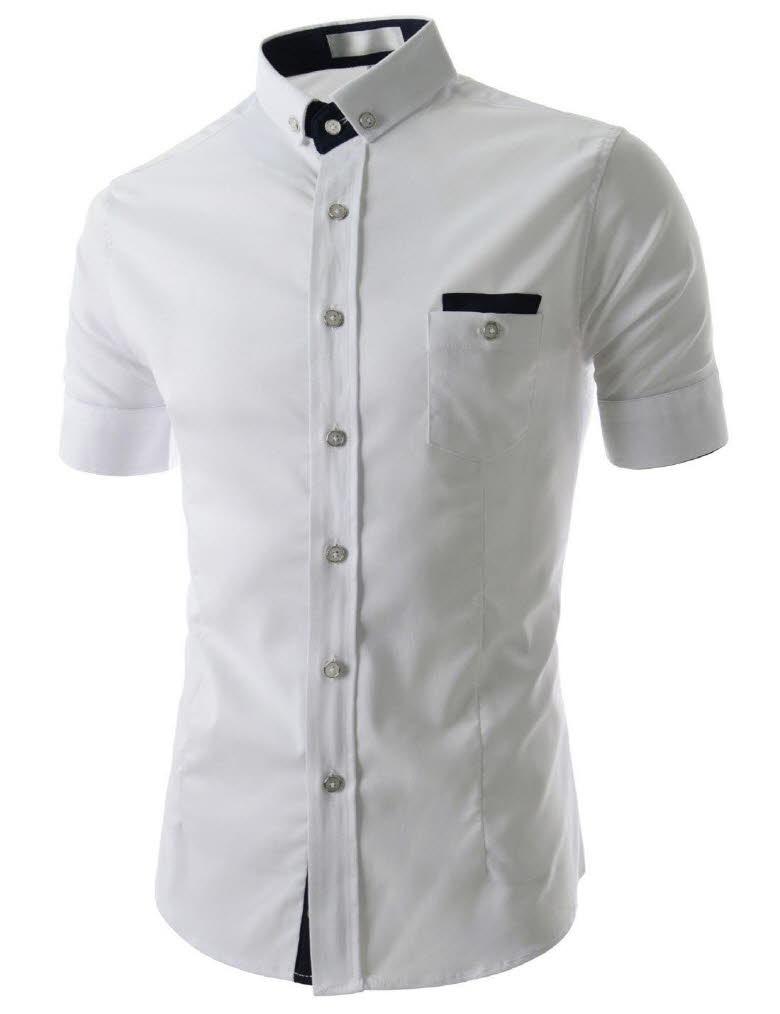 Al630 mens slim fit two tone chest pocket short sleeve for Mens two pocket short sleeve shirts