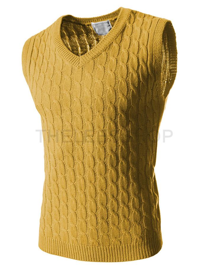 麻花针织马甲, 黄色 ,