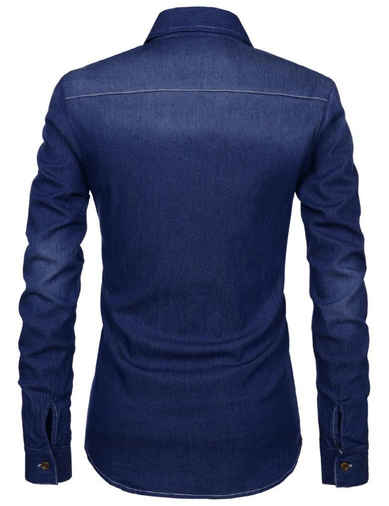 Nkjst681 thelees mens slim fit long sleeve washing denim for Mens slim fit long sleeve shirts