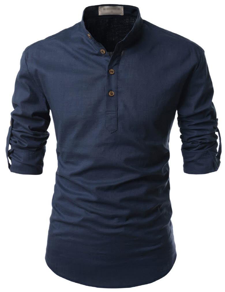 Nkn3 thelees mens premium mandarin henley neck long for Mens navy dress shirt