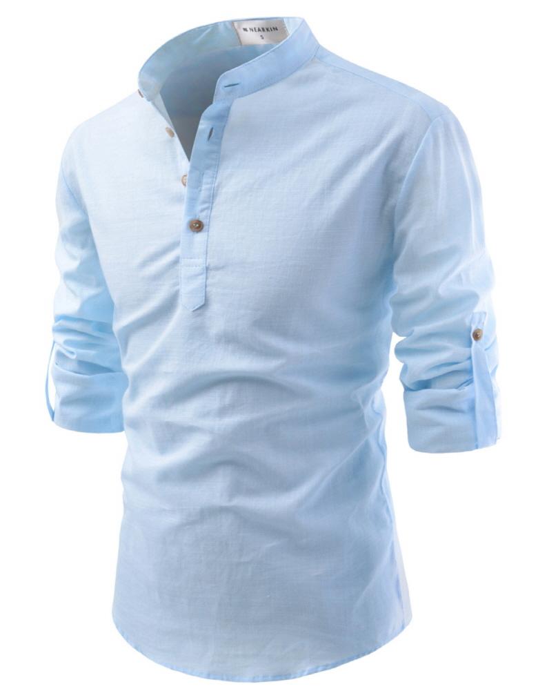 Nkn3 thelees mens premium mandarin henley neck long for Linen long sleeve shirt