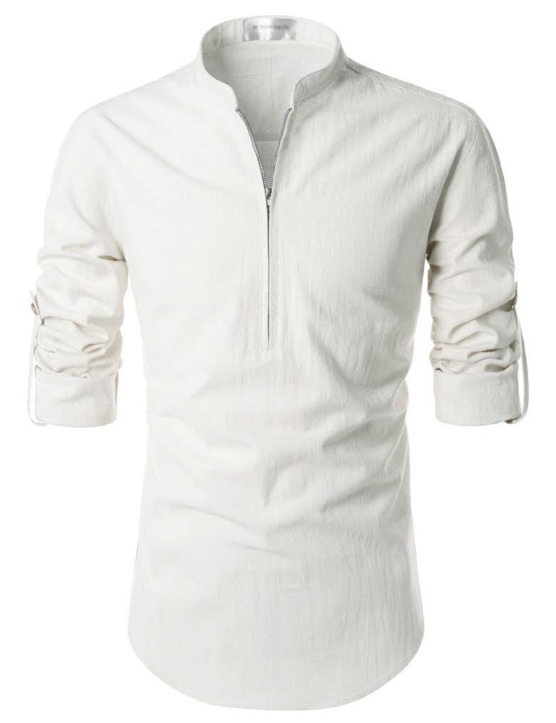 Nkn3 thelees mens premium mandarin henley neck long for H m mens henley t shirt long sleeve