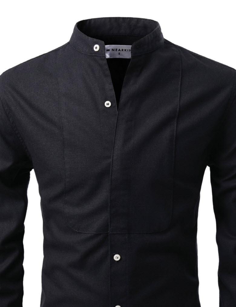 Nks764 thelees mens slim fit mandarin collar half hidden for Hidden button down collar shirts