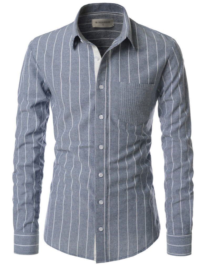 Nksst672 thelees casual vertical striped long sleeve for Vertical striped dress shirt